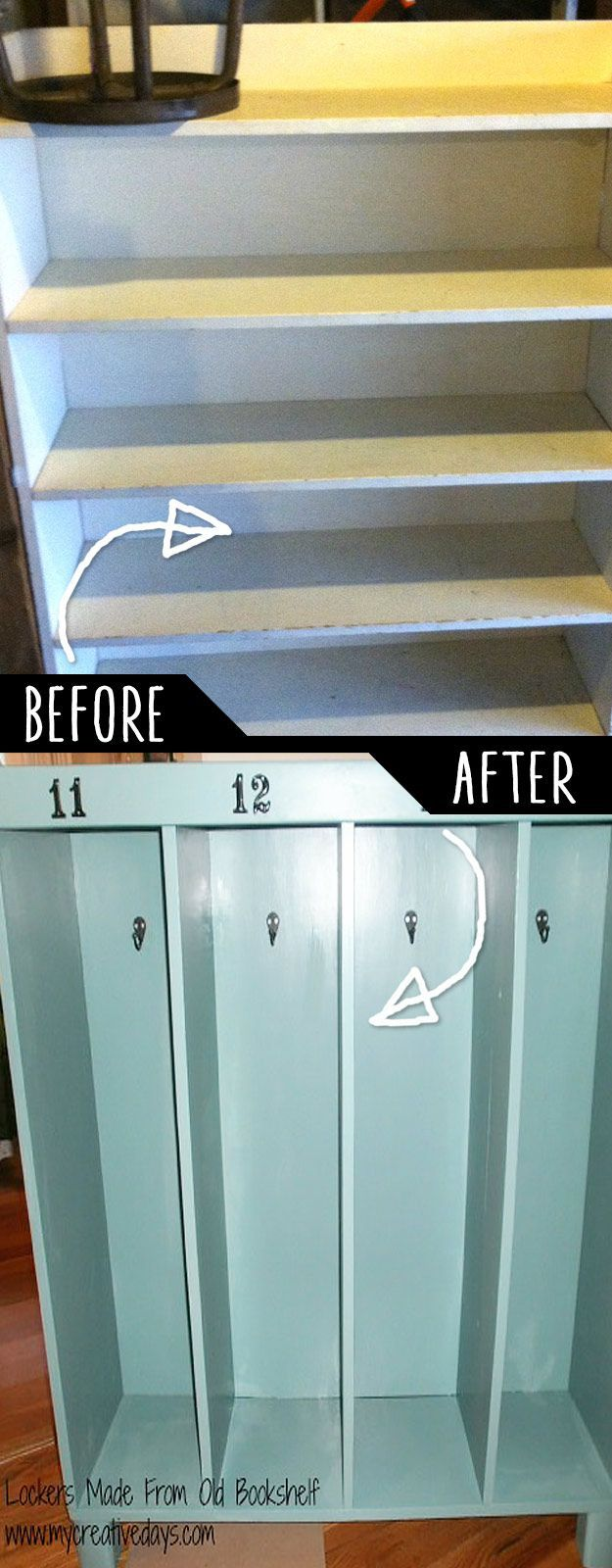 DIY Furniture Hacks | Lockers Made From Old Bookshelf | Cool Ideas for Creative Do It Yourself Furniture Made From Things You Might Not Expect - http://diyjoy.com/diy-furniture-hacks