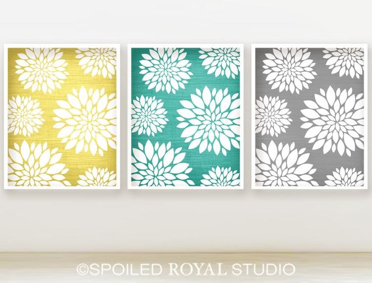 Floral Peony Pattern Prints 8x10 Set Of 3 Yellow