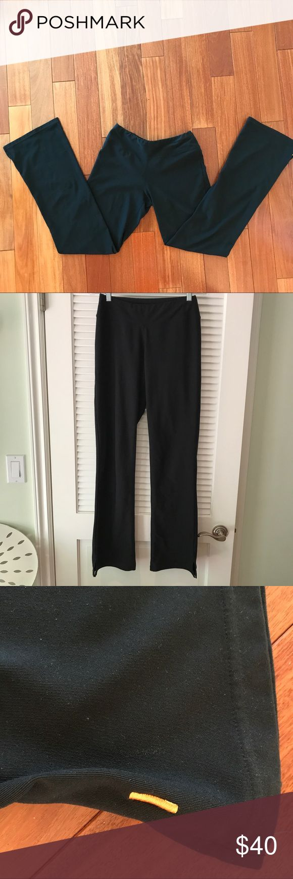 """Lucy Yoga Pants in Black Super comfortable and stretchy yoga pants that hug the thighs and sit loosely below the knees. This is in a tall size so it hits me perfectly and I'm 5'8"""". Material can be seen in the pictures above. Approx Dimensions are as follows -- Waist: 26"""" (unstretched) 34"""" (stretched) -- Inseam: 32"""" -- Exterior Length: 41"""" Lucy Pants Wide Leg"""