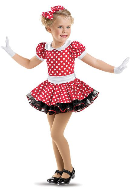 Girls' Red White Dotted Dress; Weissman Costumes tap rec 4 to 5
