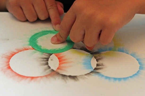 Super simple Olympic ring art (would be really cool for a space project.)