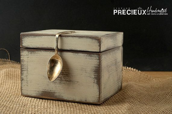 Vintage Silver Spoon Shabby Wooden Recipes Box by vintagePRECIEUX