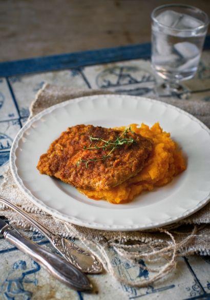 Escalopes+de+porc+cajun+&+purée+de+courge+au+fromage+en+grains