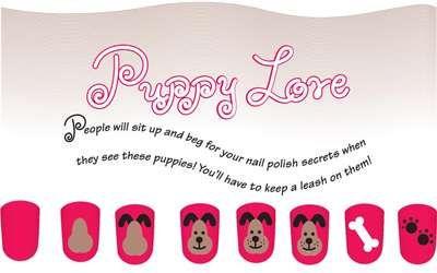 Puppy Love kid's nail art design