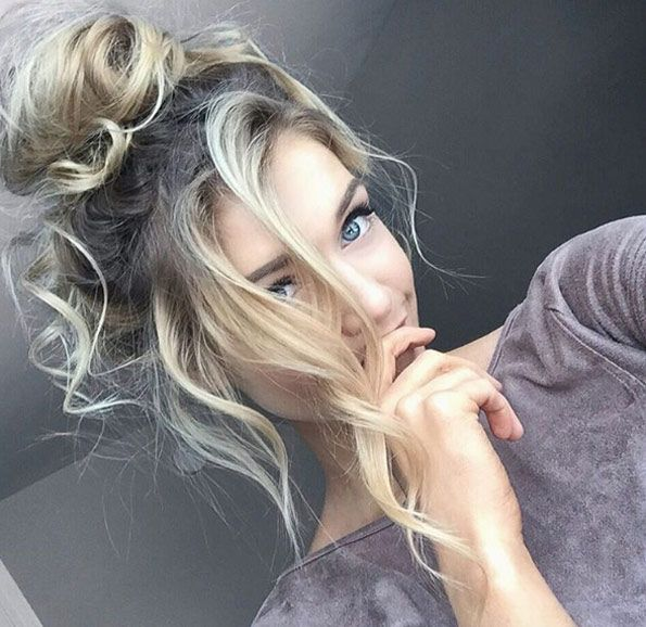 Super messy top knot by Audrey Anne