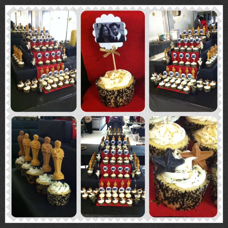 "Hollywood Theme Wedding Shower. ""And the Academy Award goes to?"" ""Lights, Camera, Action!"" (Oscar, Photo, & Star cupcakes with a red carpet stand)"