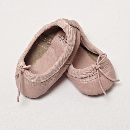 Baby girl ballerina leather shoes - pink leather