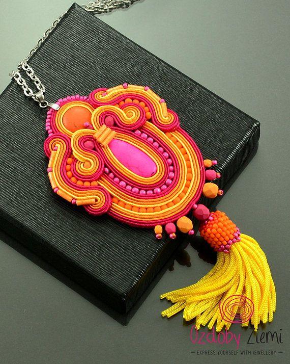 Pink Orange Tassel Necklace Gift for Christmas Orange