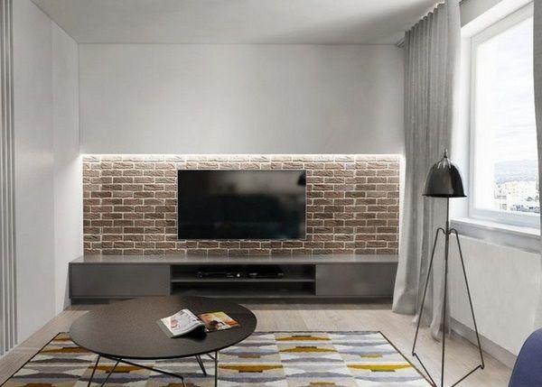 d coration murale mur de briques de vie bande led buffet gris interieurs pinterest salons. Black Bedroom Furniture Sets. Home Design Ideas