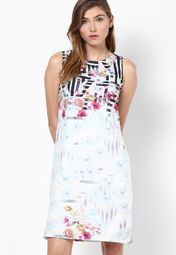 People White Printed Shift Dress Online Shopping Store