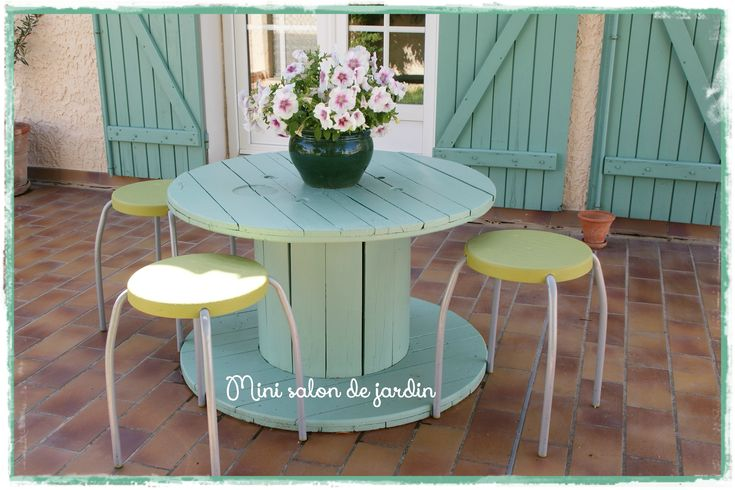 mini salon de jardin avec un touret r cup jardin pinterest minis et salons. Black Bedroom Furniture Sets. Home Design Ideas