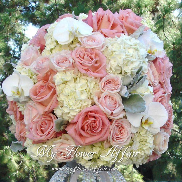 pink Wedding flowers and custom linens by My Flower Affair. www.myfloweraffair.com wedding flowers, wedding decor, wedding flower centerpiece, wedding flower arrangement, bouquet