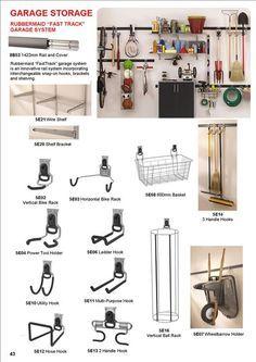 Garage Storage, Rubbermaid, Fast Track system, wire shelf, wire shelves, brackets, bike racks, wheelbarrow