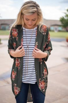 Floral olive printed cuffed cardigan. Love the floral and stripe combo! Striped T's are such a staple in my closet.