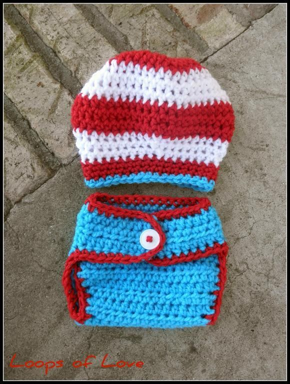 Dr Seuss Inspired Hat and Diaper Cover by Loops of Love. Found on Facebook, Ravelry, Etsy, and Craftsy.