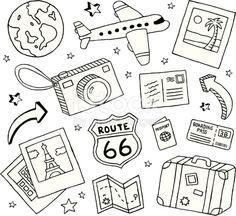 Eine Sammlung von Kritzeleien zum Thema Reisen.