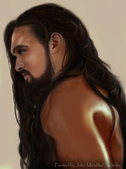 Jason Momoa as Khal Drogo on Game of Thrones--HOLY....blowing this up for my ceiling!!