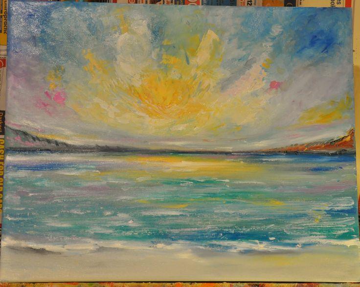 Sunset - Original Oil painting by Australian artist Leesa Clarkson - 50 x 40 x 4cm #beach #sunset #blue #horizon #colors #sun #ocean #rainbow #oil # painting #landscape
