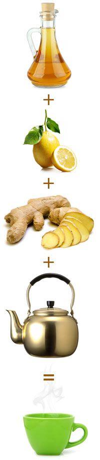 1 vaso de agua caliente, 2 a 3 cucharaditas de vinagre de manzana, 1 cucharadita de miel, u00bd limu00f3n cortado o exprimido, Jengibre fresco rallado, al gusto (opcional), Una pizca de canela (opcional) Mezcle todos los ingredientes en una taza y deje reposar por unos minutos. Beba y prepu00e1rate para sentirse renovado.