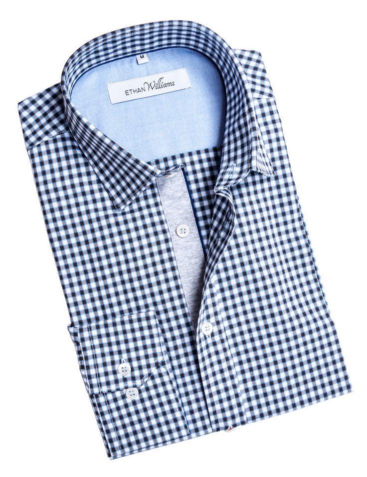 Ethan Williams Black Oxford Check shirt with cut away collar - Iris
