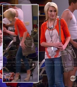 Rileys top with orange lace stripes and contrast ankle booties on Baby Daddy.  Outfit Details: http://wornontv.net/17744/ #BabyDaddy #ABCFamily