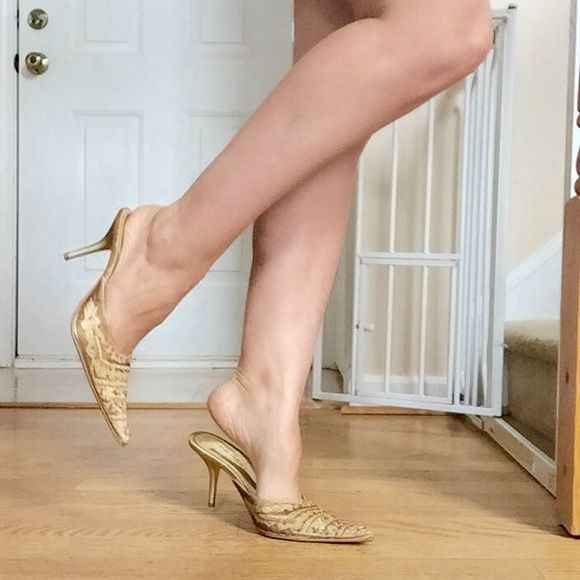 Nine West Pointed Toe Heel These were worn once for an event. I have Cankles and they really make the legs look slim! Size 7. Leather sole, fabric upper. Gold and beaded. 2inch heel Nine West Shoes Heels