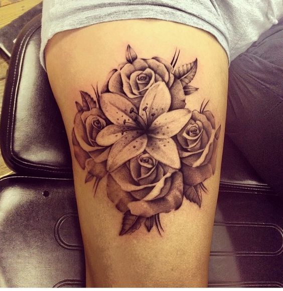 lily and rose arm tattoo