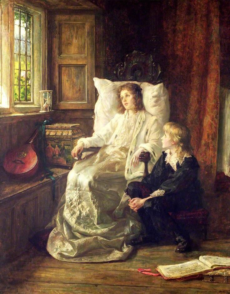 The Children of Charles I (by 1895). Margaret Dicksee (British, 1858-1903). Oil on canvas. Oldham Art Gallery. Charles I was imprisoned in Carisbrooke Castle for fourteen months before his execution in 1649. Afterwards his two youngest children, Henry, Duke of Gloucester and Princess Elizabeth, were confined in the castle, and Princess Elizabeth died there. Here the children have a lute and sheet music to pass the time.