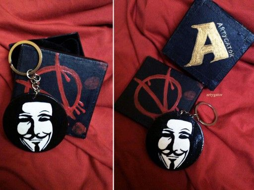 V for vendetta keyring by me ..made for a friend...wood n acrylic badge.