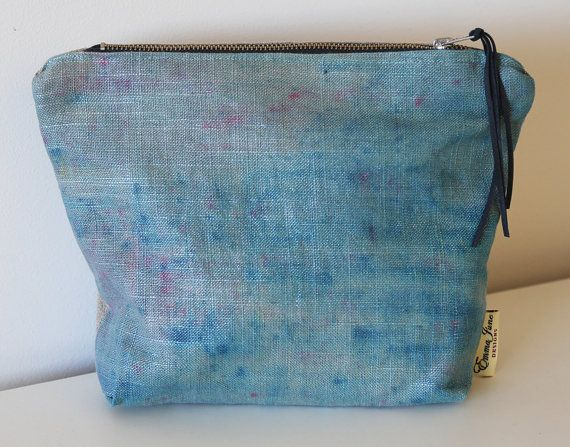 Hand dyed Linen Makeup Bag/ Purse Aqua by EmmaJuneDesigns on Etsy, €19.00