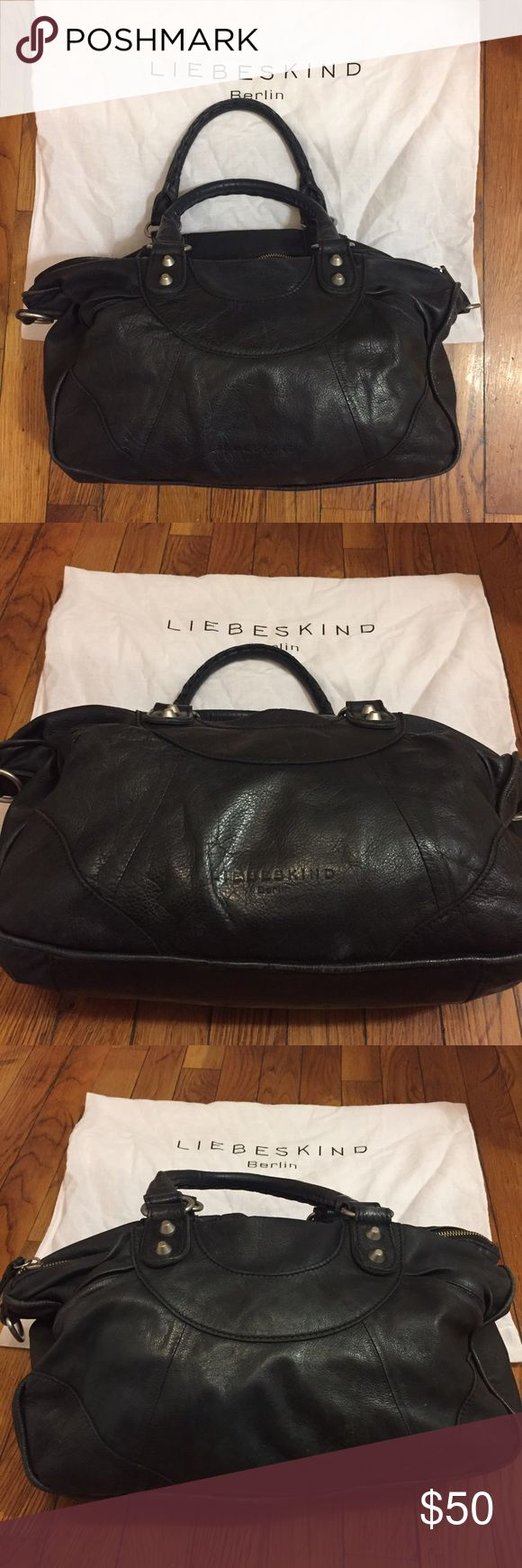 Soft Leather Bag!! Super Soft, black leather Liebskind bag in great condition! Perfect for every day use with great pocket space - comes with original dust bag. General wear on leather and inside fabric - great deal!!! Liebeskind Bags