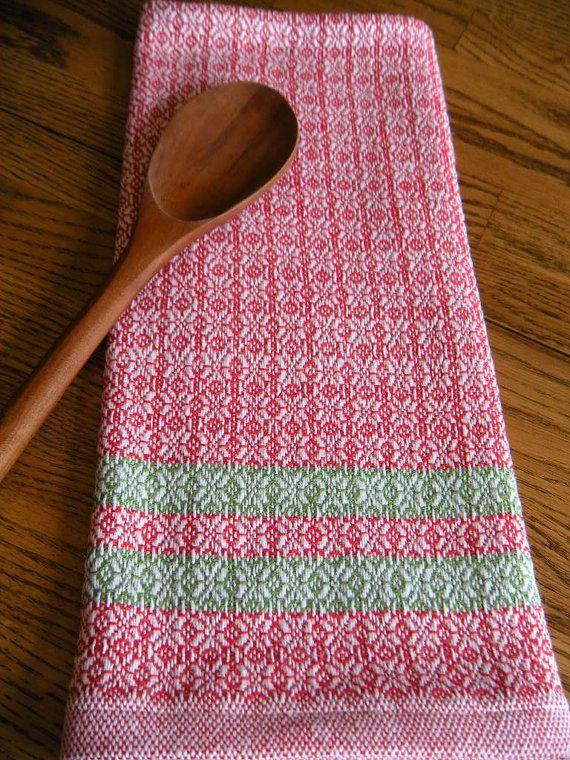 Handwoven Christmas Towel Handwoven Organic by ThistleRoseWeaving