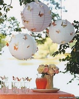 Another great way to decorate inexpensively for an event... paper lanterns with butterflies...how whimsical