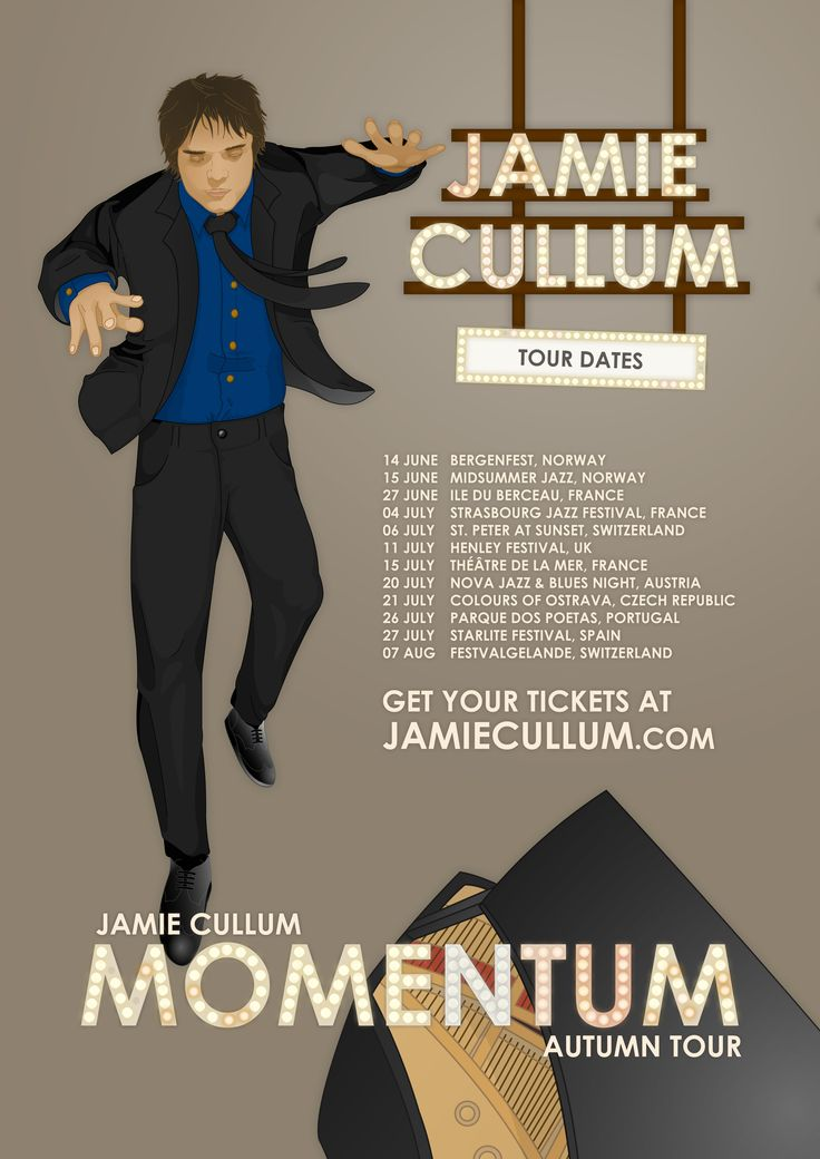 "I made this for the Jamie Cullum ""Momentum"" tour poster design contest. I used the word 'momentum' as the base of my poster design. That is how I came up with the idea to have Jamie flying towards his grand piano. It took me two fun and hard working weeks to get everything digitally drawn and as detailed as possible. Unfortunately I didn't win the design contest, but I really enjoyed creating this poster and I hope you like it too!"