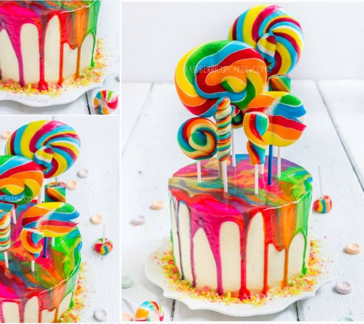 Rainbow Swirl Lollipop Cake