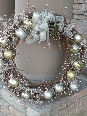 Grapevine wreath with blingy ornaments!
