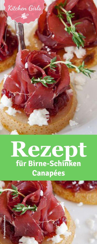 Edles Fingerfood: Rezept für Canapées mit Birne und Schinken.