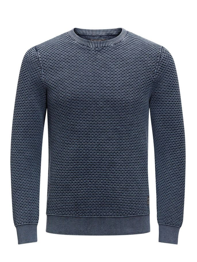 A classic knitted pullover in mood indigo, is a great layering piece. It is