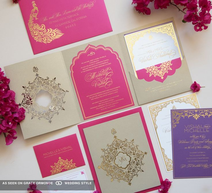 pink and gold wedding invitation set