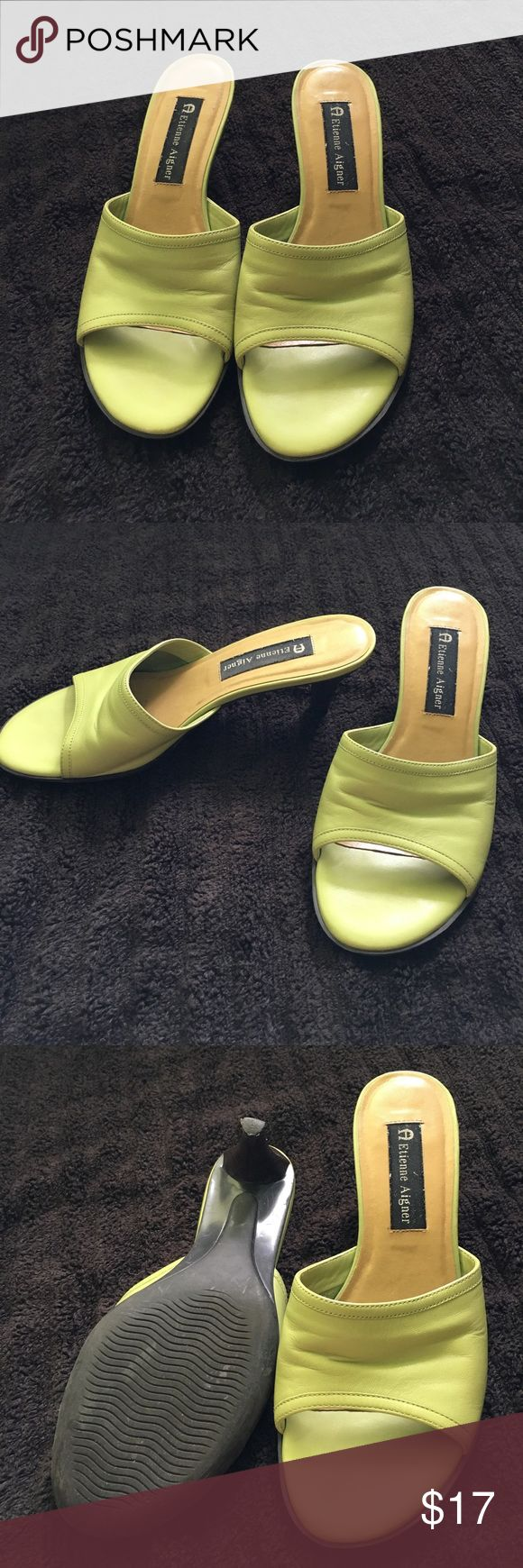 Etienne Aigner Lime Leather Heeled Sandals Size 7 Lime green leather Etienne Aigner Sandlas in very good condition. Etienne Aigner Shoes Sandals