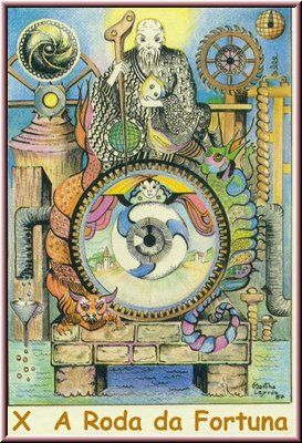 10. A Roda da Fortuna, no Tarot Namur, desenhado por Martha Leyrós