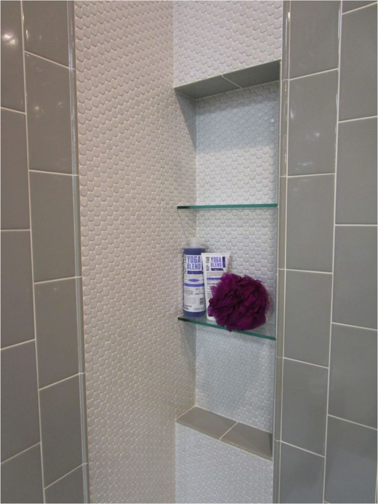 Imperial Ice Grey Ceramic Subway Tile + White Penny Tile