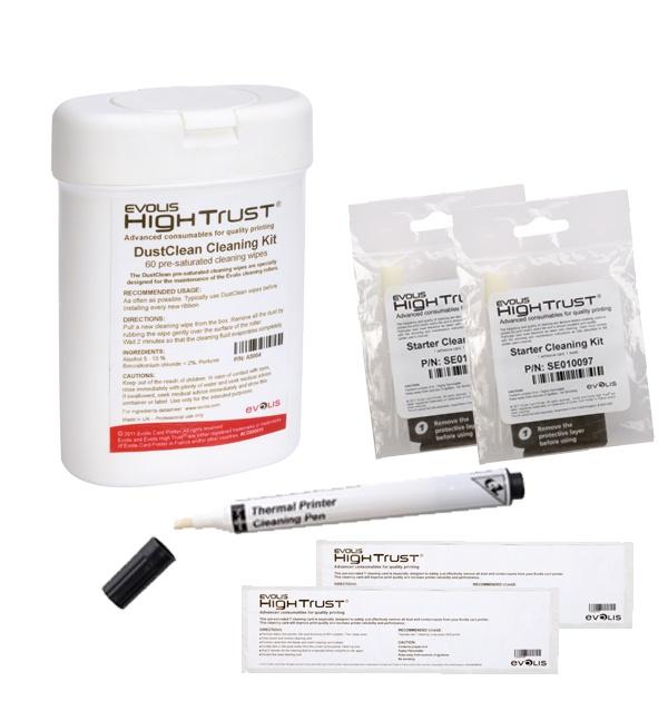 kit de limpieza para maquinas de impresion de credenciales evolis. compre en linea en http://www.impresoradecredenciales.com