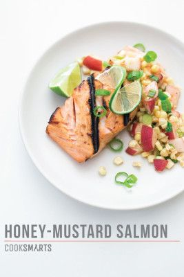 Honey-Mustard Salmon with Corn and Peach Salsa | Weeknight Meal #recipe via @CookSmarts