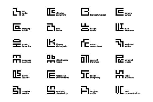 Le nouveau système d'identité visuelle du MIT Visual Lab (2014), créé par Michael Bierut (de Pentagram).