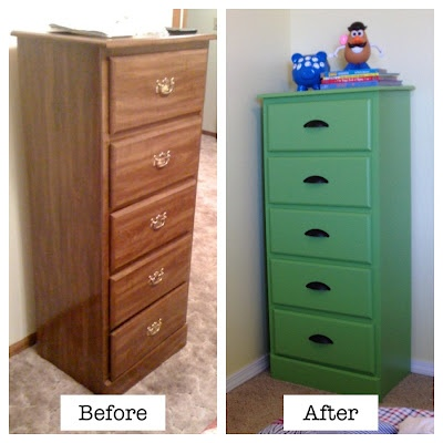 I repainted a chest of drawers this week using Valspar Mardis Gras Green. The photo doesn't quite do the color justice.