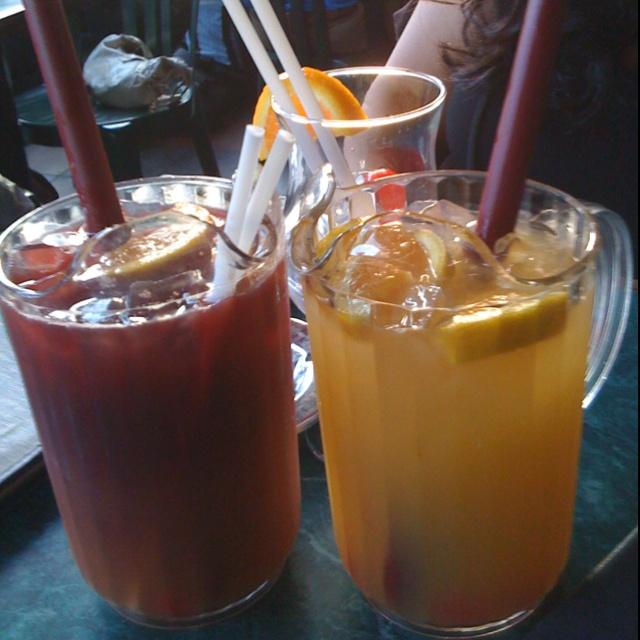 1/2 pitcher of sangria and a straw. What more do you need forth kick off summer!