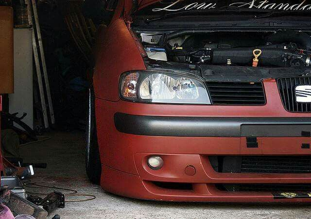 Cupra sitting low in the garage