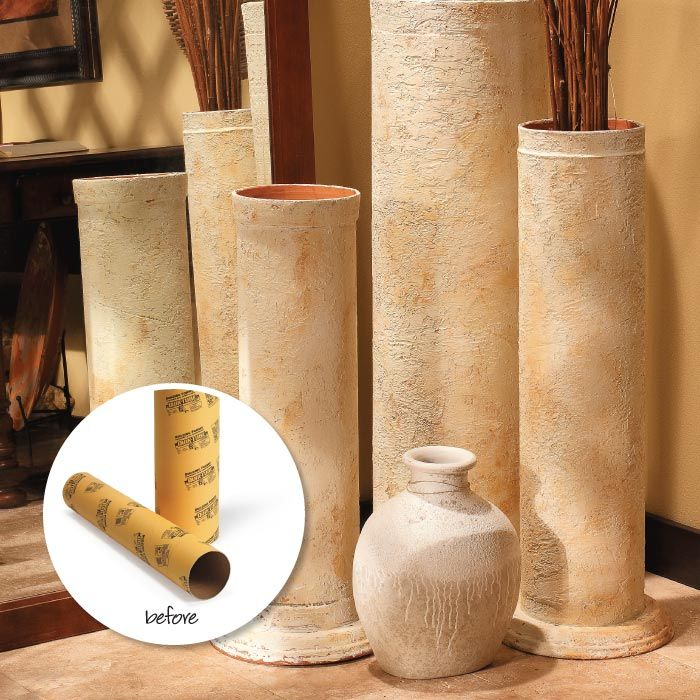 Diy decorative faux stone columns made from cardboard for Cheap decorative items