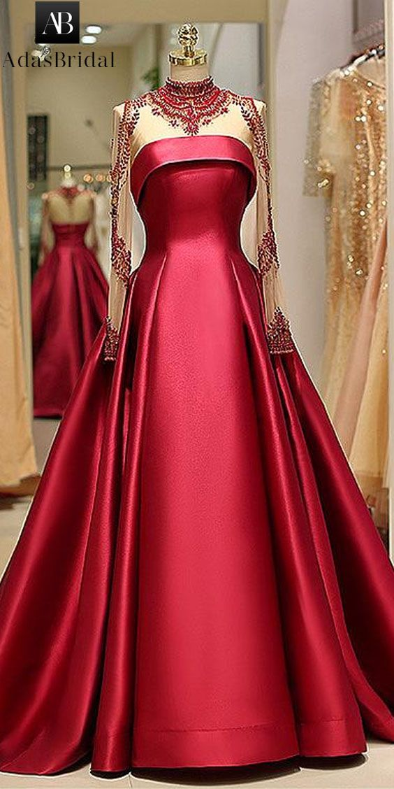 5882b59e87 Brilliant Satin High Collar Floor-length A-line Evening Dress With Beadings